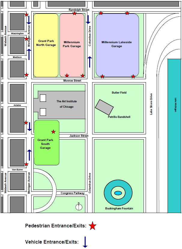 Map for Millennium Garage Entrance